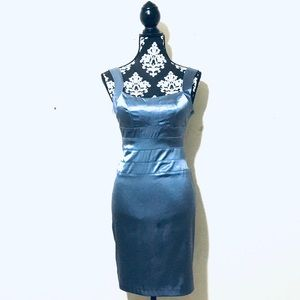 Silver-Blue Silky Cocktail Dress
